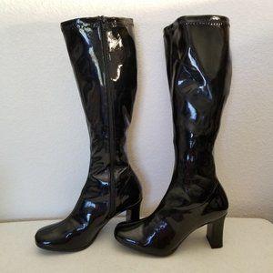 Funtatsma Black Stretch Patent GoGO Boots Black